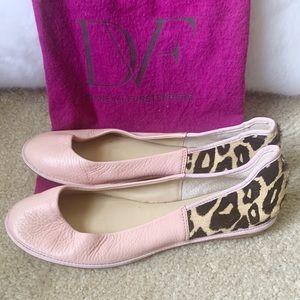 Diane Von Furstenberg Pink Leather Leopard Flats